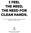 Hand hygiene poster - I feel the need, the need for clean hands