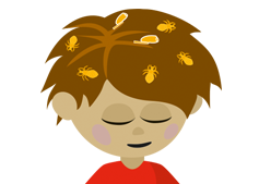 a picture of a boy with headlice (not to proportion)